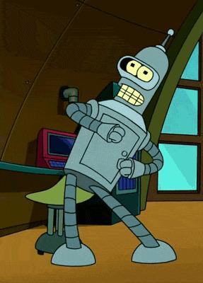 The robot Bender from Futurama dancing.