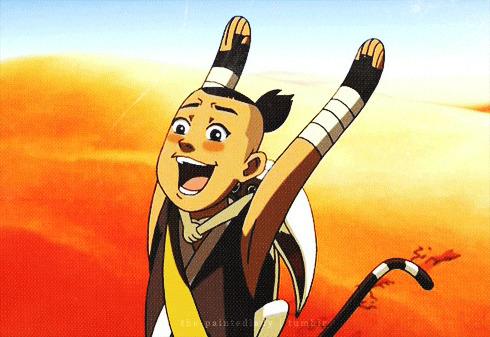 Sokka from Avatar: The Last Airbender joyfully waving his arms.